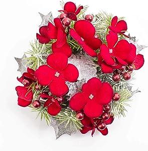 artplants.de Anneau pour Bougie avec Fleurs d'hortensia et Baies artificielles, enneigé, Rouge, Ø 15cm - Rond de Serviette Noël - Déco de Table