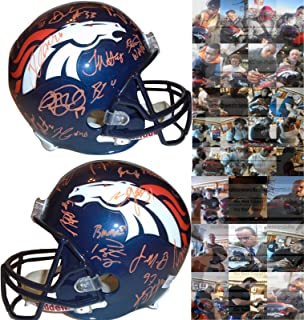 2014-2015 Denver Broncos Team Autographed Hand Signed Riddell Full Size Football Helmet with 32 Signatures Total and Exact Proof Photos of Signing, COA, Peyton Manning, C.J. Anderson, Cody Latimer
