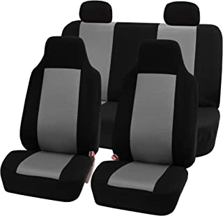 FH Group FB102114 Full Set Classic Cloth Car Seat Covers w. E-Z Travel Car Storage Bag, Gray/Black- Fit Most Car, Truck, SUV, or Van