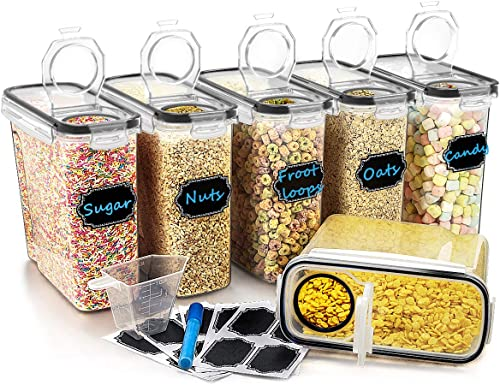 Large Cereal & Dry Food Storage Containers, Wildone Airtight Cereal Storage Containers for Sugar, Flour, Snack, Bakin...