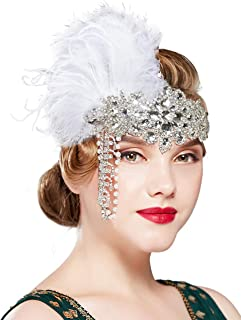BABEYOND Women's 1920s Headband Flapper Feather Headpiece with Chain Roaring 20s Great Gatsby Themed Party Hair Accessory (White)