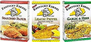 Kentucky Kernel Variety 3 Pack Seasoned Coating Mixes Includes – 1 Seasoned Flour, 10 oz. – 1 Garlic & Herb Mix, 7 oz. – 1 Lemon Pepper Mix, 7 oz.