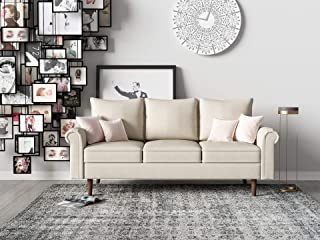 Container Furniture Direct Circular Ultra Modern Fabric Upholstered Living Room Sofa, 64.60, Beige