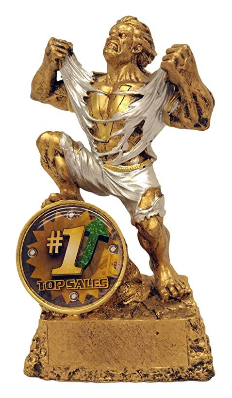 Decade Awards Top Sales Monster Trophy - 6.5 Inch Tall Salesman Beast Award - Salesperson Hulk Trophies - Engraved Plates by Request,gold