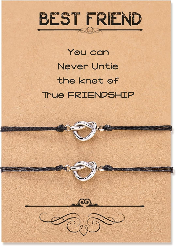 Seyaa Knot Best Friend Bracelets for 2 3 Sisters Friendship Matching Bracelets Jewelry for Women Girls BFF Bridesmaid Proposal Gifts