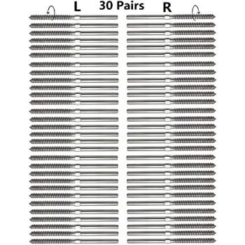 Cable Railing Kit Swage Lag Screws Left and Right for 1//8 Inch Cable Railing T316 Stainless Steel Balusters System Wood Post DIY Baluster Kit 100 Pieces// 50 Pairs