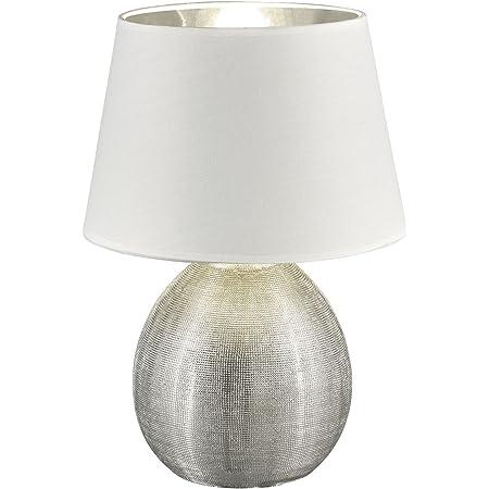 Reality, Lampe de table, Luxor 1xE27, max.60,0 W Tissu, Multicouleur, Corps: Céramique, argent Ø:24,0cm, H:35,0cm IP20,Interrupteur de cordon
