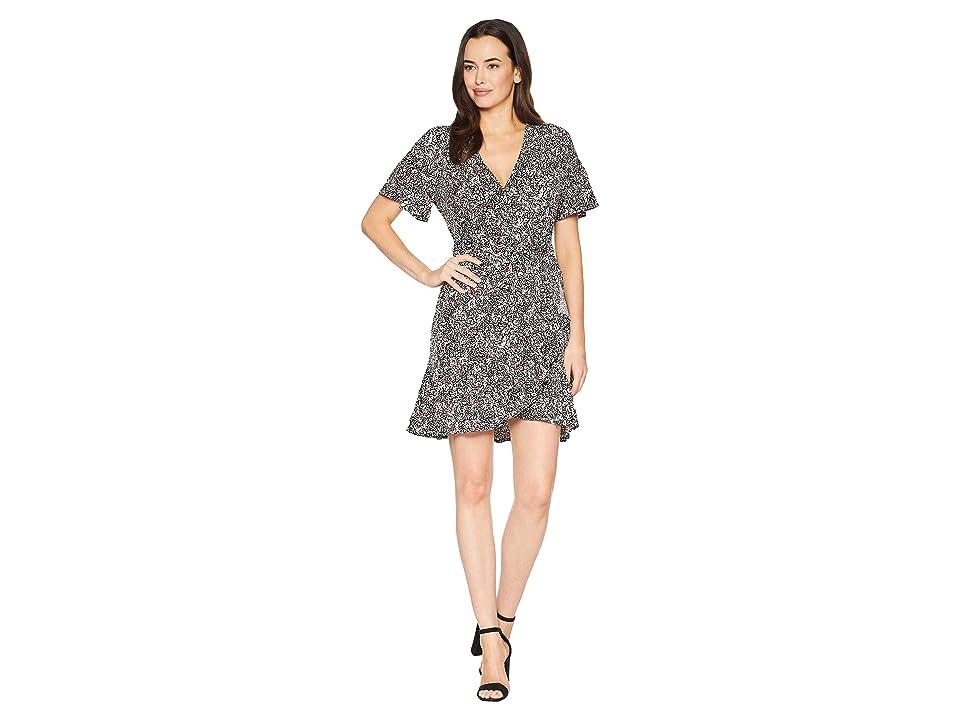 MICHAEL Michael Kors Mini Fluter Sleeve Wrap Dress (Black/Maroon) Women