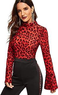 SweatyRocks Women's Mock-Neck Graphic Print Long Sleeve T Shirt Basic Blouse Tops