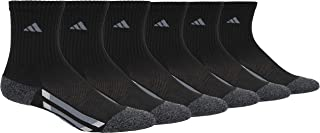 adidas Youth Kids-Boy's/Girl's Cushioned Crew Socks (6-Pair), Black/Medium Lead/Graphite, Medium, (Shoe Size 13C-4Y)