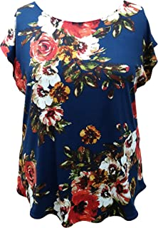 Honey Run Womens Juniors Plus Size Navy Blue Floral Tunic Top Made in USA
