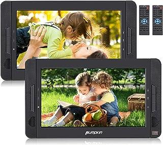 "Pumpkin Dual DVD Coche para Reposacabezas, 10.1"" Reproductor Portátil Dos Pantallas para TV de Casa con batería incorporable 2700mAh y Cargador de mechero y de pared, soporta USB/ SD"