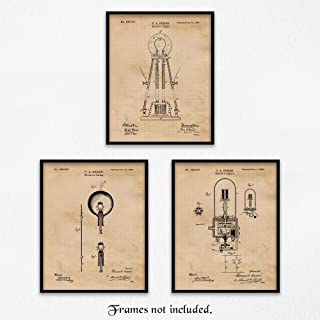 Original Thomas Edison Lightbulb Patent Poster Print, Set of 3 (8x10) Unframed Photos, Wall Art Decor Gifts Under 15 for Home, Office, Studio, College Student, Teacher, Tesla, Electric & Science Fan