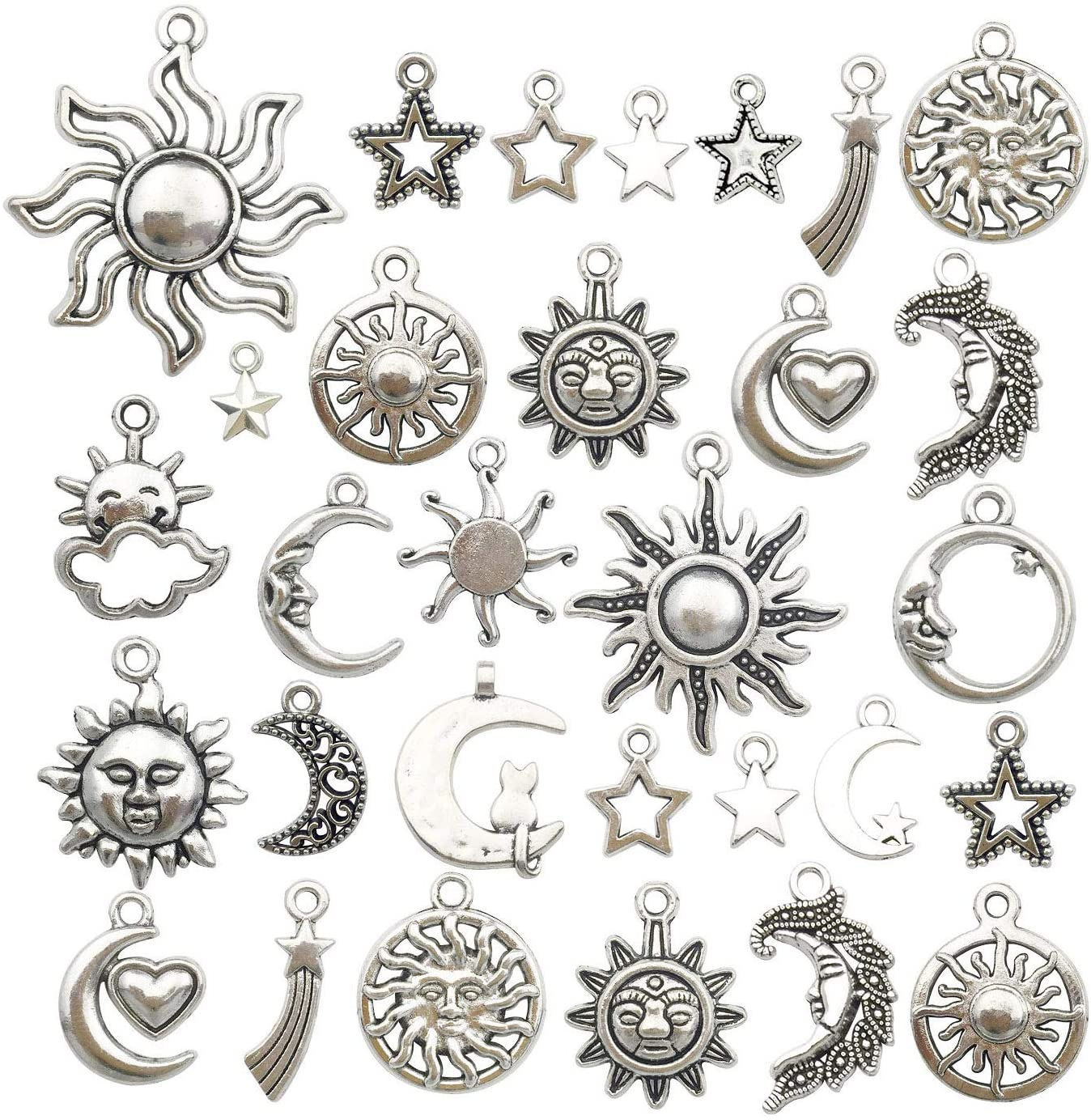 100g 80pcs Craft Supplies Mixed Antique Silver Sales for sale Moon Sun C Stars excellence