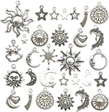 100g(80pcs) Craft Supplies Mixed Antique Silver Sun Moon Stars Charms Pendants for Crafting, Jewelry Findings Making Accessory for DIY Necklace Bracelet M250