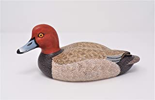 USA Made Miniature 8 inches Long (20cm) Hand Carved Bird Collectible Wood Decoy Duck Red Head Drake