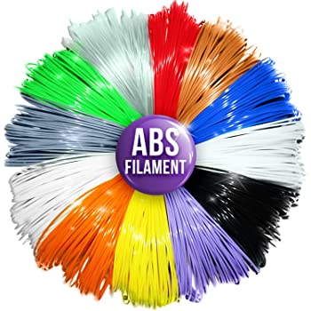 3D Pen Filament Refills - 1.75mm ABS Printer Refill Pack - 240 Linear Feet in 20 Foot Lengths Per Color - 80 Stencil E-Book & Bonus Glow in The Dark Color Included by 3D Artist Supply