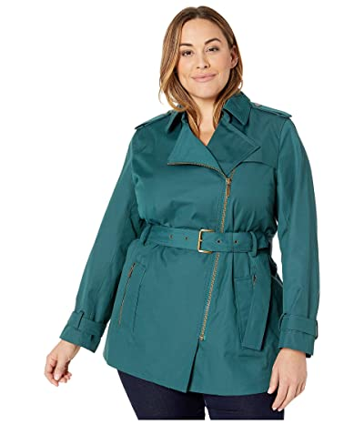 MICHAEL Michael Kors Plus Size Zip Front Trench (Atlantic) Women