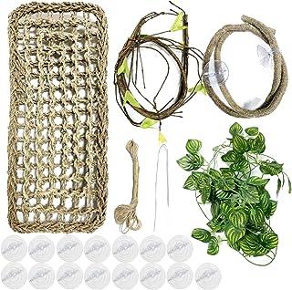PietyPet 20 sztuk terraristyczna jaszczurka akcesoria do dekoracji przestrzeni życiowych, hamak, smok, trawa morska, gady,...