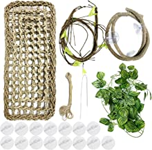 PietyPet 20 pcs Reptile Lizard Habitat Decor Accessories, Bearded Dragon Hammock, Reptile Hammock with Artificial Climbing Vines and Plants for Chameleon, Lizards, Gecko, Snakes, Lguana