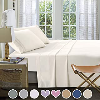 Loom & Mill Microfiber Bedding Sets - New Design Extra Soft 1800 Series Bed Sheet Set - Deep Pocket, Wrinkle, Fade, Stain Resistant, Hypoallergenic - 4 Piece(Twin, Cream-Greek Key)