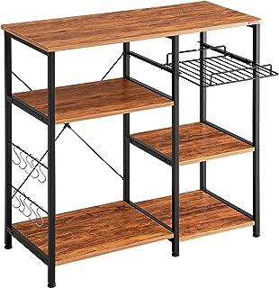 Mr IRONSTONE Kitchen Baker`s Rack Vintage Utility Storage Shelf Microwave Stand 3-Tier+3-Tier Table for Spice Rack Organiz...