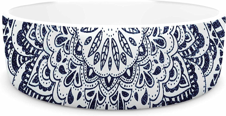 KESS InHouse Nika Martinez Dots Mandala bluee White Illustration Pet Bowl, 7  Diameter