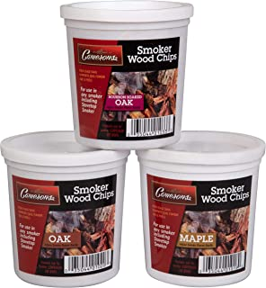 Wood Smoking Chips - Bourbon, Oak, and Maple Wood Chips for Smokers - Set of 3 Resealable Pints