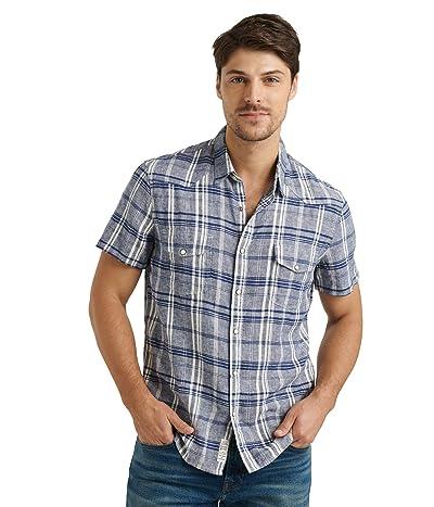 Lucky Brand Short Sleeve Santa Fe Western Shirt (Blue Plaid) Men