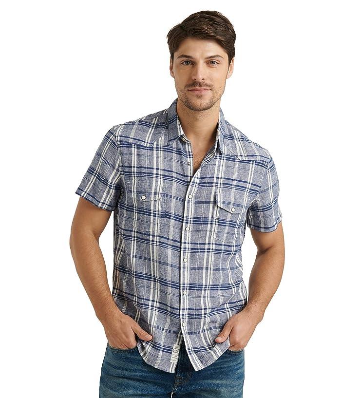 Lucky Brand  Short Sleeve Santa Fe Western Shirt (Blue Plaid) Mens Clothing