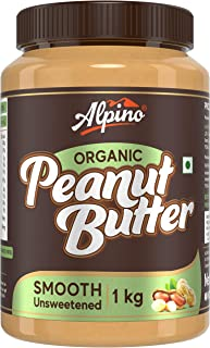 Alpino Organic Natural Peanut Butter Smooth 1 KG | Unsweetened | Made with 100% Roasted Organic Peanuts | 30% Protein | No...