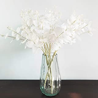 ArtificialFlower Fake Eucalyptus Leaves Faux Eucalyptus Stems for Home Party Wedding Decoration 3Pcs (White)
