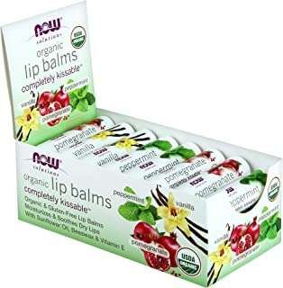 NOW Solutions, Completely Kissable Lip Balm, Assorted Flavors, Peppermint, Pomegranate and Vanilla, with Sunflower Oil, Be...