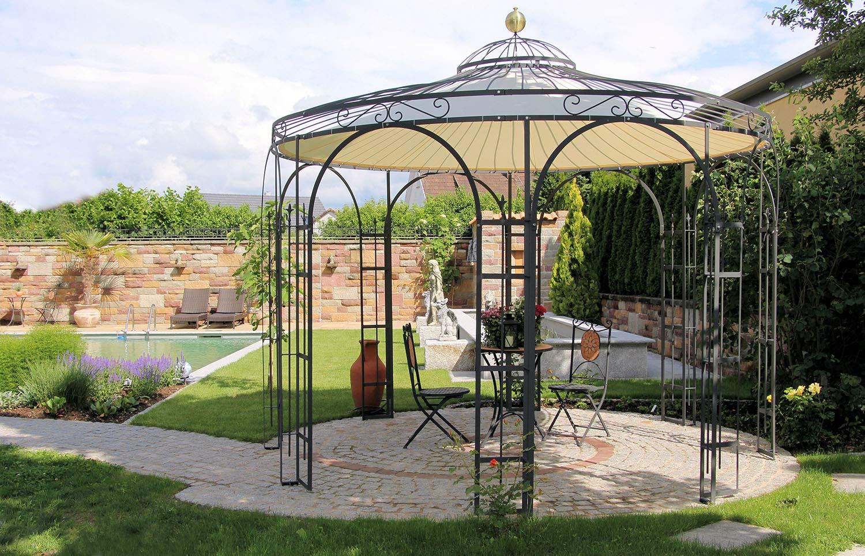 ELEO Florenz - Cenador redondo de hierro con toldo, diámetro de 3, 7 metros (superficie: recubrimiento dúplex antracita): Amazon.es: Jardín