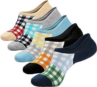 5 Pares Calcetines Cortos Mujeres Invisibles Antideslizantes Calcetines Algodón para Zapatillas de Deporte Mocasines