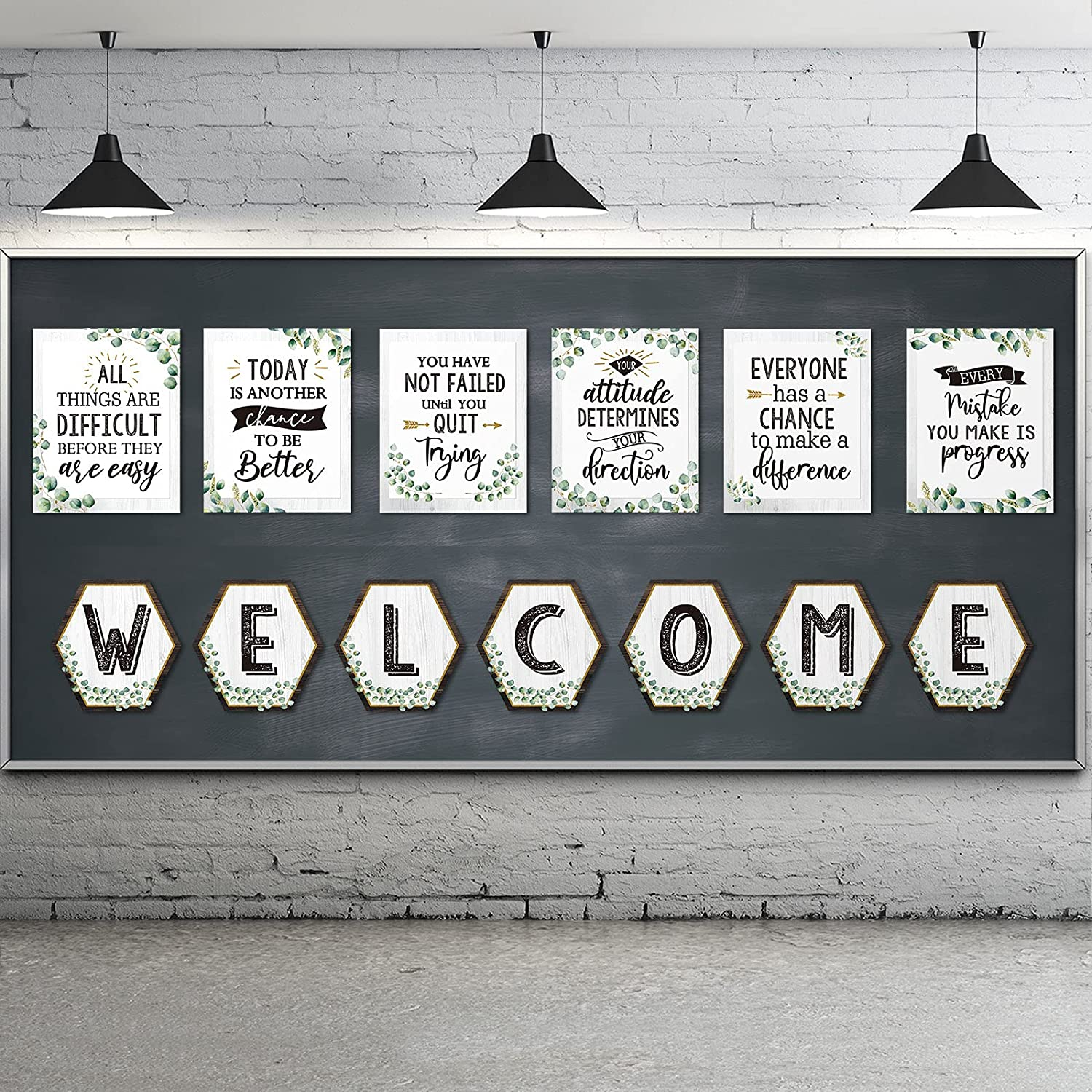 13 Pieces Eucalyptus Bulletin Board Poster Classroom Motivational Green Inspirational Quote Poster Eucalyptus Border Positive Education Poster Set with Welcome Letter School Office Wall Decors