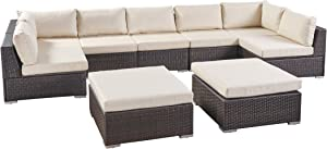 Great Deal Furniture Tom Rosa Outdoor 7 Seater Wicker Sectional Sofa Set with Cushions, Multibrown with Beige Cushions