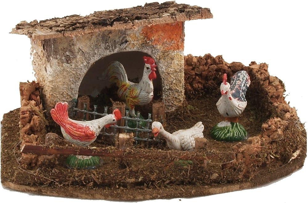 Ferrari & arrighetti,pollaio con galline,paesaggio del presepe 504G