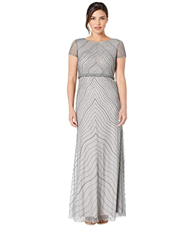 Adrianna Papell Cap Sleeve Beaded Blouson Evening Gown (Slate) Women
