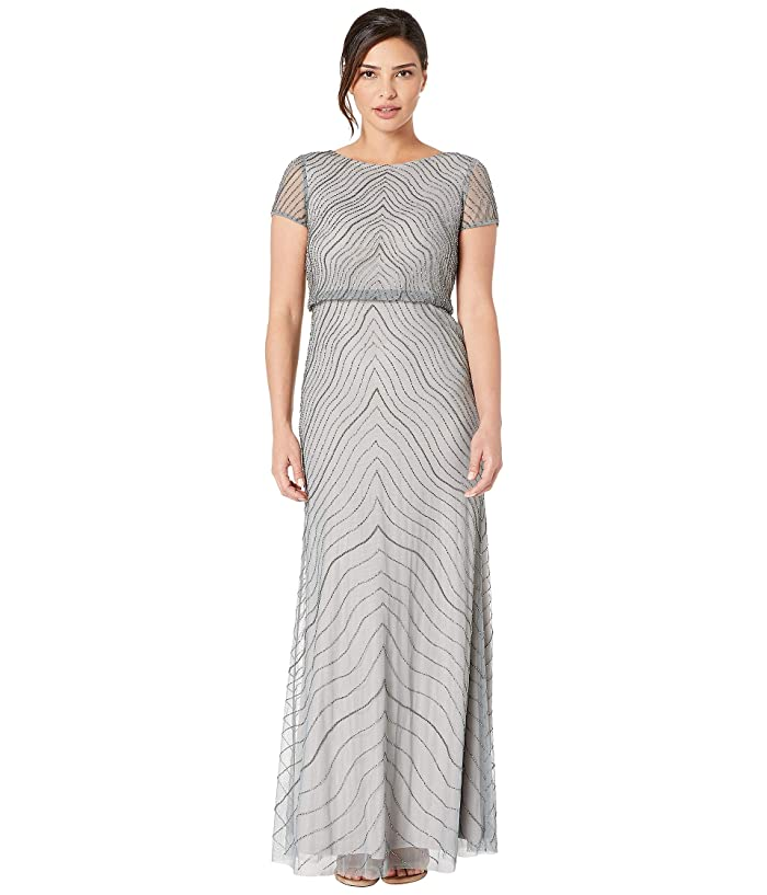 Vintage Evening Dresses and Formal Evening Gowns Adrianna Papell Cap Sleeve Beaded Blouson Evening Gown Slate Womens Dress $155.40 AT vintagedancer.com