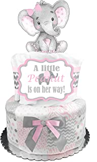 Elephant Diaper Cake - It's a Girl Baby Shower Gift - Pink and Gray