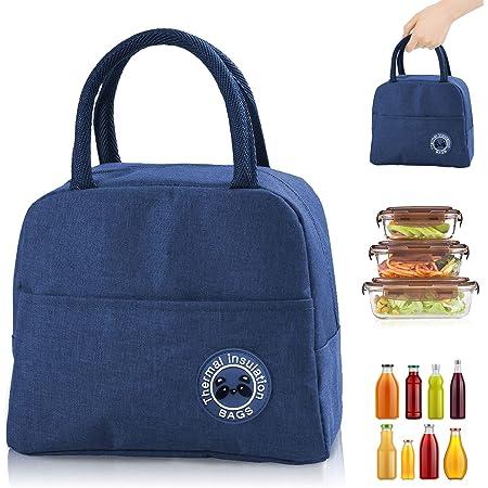 Sac Isotherme Repas, Sac de Transport Repas Lunch Bag Portable Sac Lunch Box Bag à Déjeuner Waterproof, pour Bureau l'école Voyage Camping Repas Préparés (bleu)