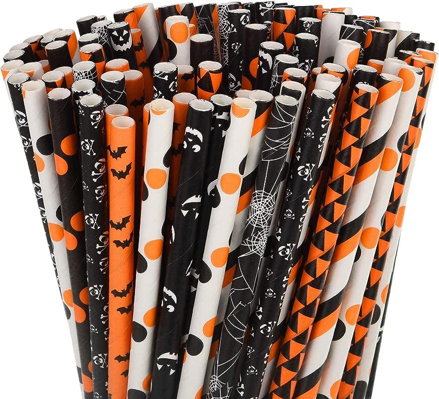 200 Pieces Halloween Paper Straws Pumpkin Bat Spider Web Skeleton Pattern Straws Black Orange Paper Drinking Straws For Halloween Party Supplies Color Set 2