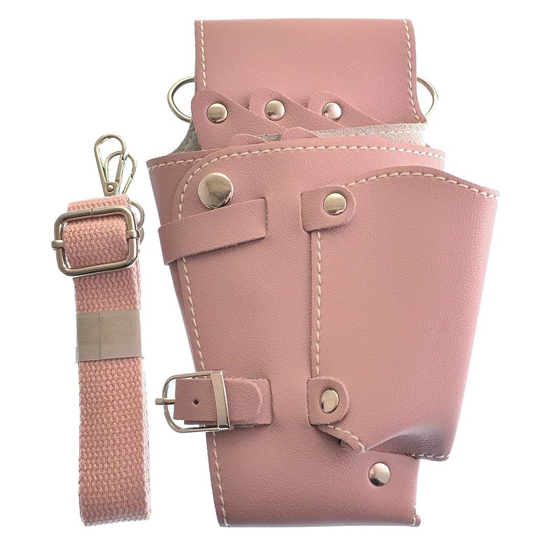 イヤホン渦行商人【GLASS FROG】シザーケース シザーバッグ PUレザー ハサミ5丁収納 美容師 トリマー(ピンク)