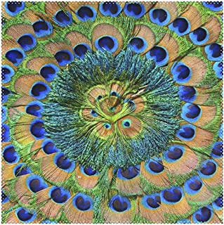 XiangHeFu Placemats Abstract Bird Peacock Feather Round 12x12 inch Set of 4 Heat Resistant Non Slip for Dinning Table