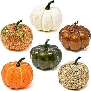 Gift Boutique 6 Pack Thanksgiving Decorative Artificial Pumpkins White Orange Green Burlap Gourds Halloween Autumn Fall Harvest Home Crafts
