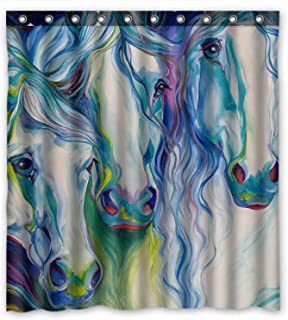 KXMDXA Abstract Watercolor Horse Art Waterproof Polyester Bath Shower Curtain Size 66x72 inch