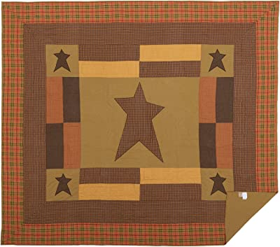 VHC Brands Primitive Bedding Sutton Cotton Pre-Washed Appliqued Star California King Quilt, Dark Khaki Tan