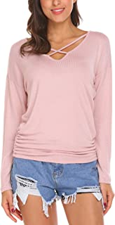 Women Knitted Pullover Tops Criss Cross Dolman Long Sleeve Casual Sweatshirts Sweater Jumper Shirt