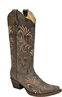 Corral Women's Circle G Distressed Green/Beige Filigree Embroidered Western Boot